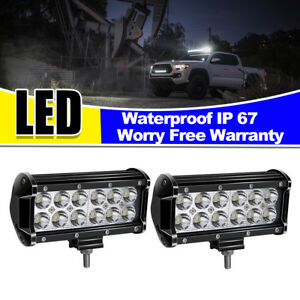 2x 6in Led Work Light Bar Fog Pod Spot Backup Roof Reverse Offroad Driving Light