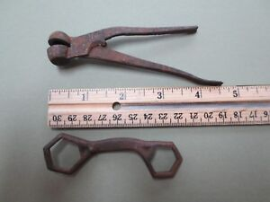Vintage hand tools from estate- box end wrench and antique reloading tool press
