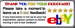 30 60 90 150 300 1500 Thank You 5 Star Ebay Shipping Labels Stickers 1 X2 625