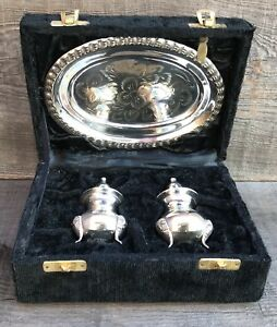 International Silver Co Silver Plated Salt Pepper Shaker Set With Tray Box