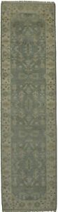 Charming Handmade Floral Runner Oushak Chobi Indian Rug Oriental Carpet 3x10