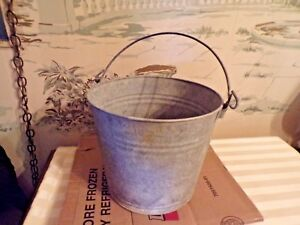 Vintage Galvanized Steel Farm Bucket Pail 9 Tall Farm Primitive
