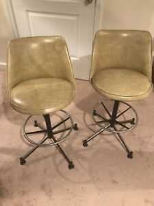 Set Of 2 Vintage Mid Century Modern Cosco Beige Swivel Bar Stools Chairs Aasb30