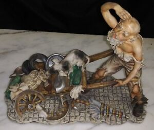 Quality Bisque Capodimonte Porcelain N Crown Mark Italian Homeless Figurine