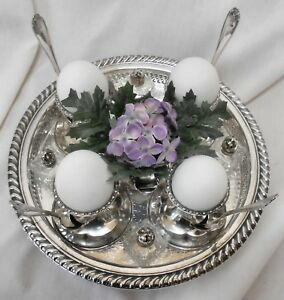 Exquisite 14pc Atq Slv Plate Egg Cup Cruet Set Egg Cups Spoons Waste S