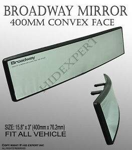 Universal Broadway 400mm Convex Clear Interior Clip On Rear View Mirror C356