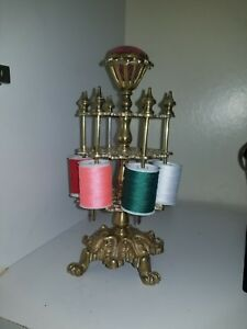 Large Antique Victorian Sewing Thread Holder And Pin Cushion