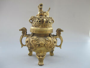 Old China Bronze Double Ear 9 Dragon 3 Foot Beast Incense Burners