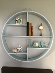 Vintage Rattan Circle Shelf Mid Century