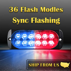 12 Led Car Truck Red Blue Emergency Hazard Warning Beacon 36w Strobe Light Bar