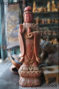 Old China Buddhism Natural Red Crystal Hand Carved Guanyin Kuanyin Buddha Statue