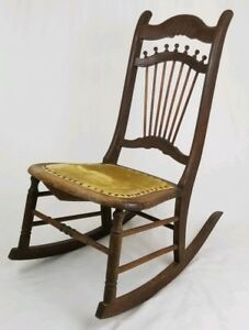 Antique Victorian Oak Rocking Chair Stick And Ball Wooden Rocker Vintage