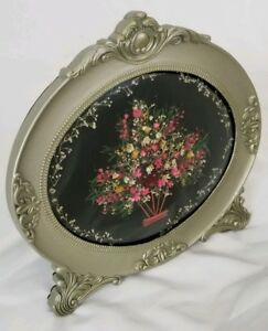 Vintage Victorian Convex Glass Picture Frame Dried Flowers Ornate Hand Made