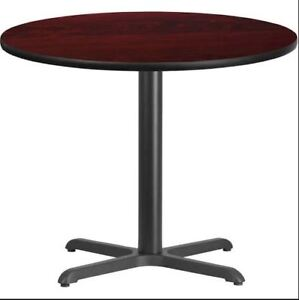 36 Round Mahogany Or Black Laminate Restaurant Table Top Base Dining Height