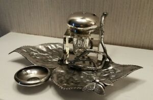 Antique James W Tufts Quadruple Silverplate Inkwell 2873 1880 S