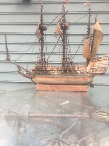 Antique Hand Made Wooden Of Warship 1500 S English Pirate Type Ship Model