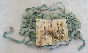 Blue Silk Vintage Victorian Antique Needle Case Sewing Bag Pin Cushion