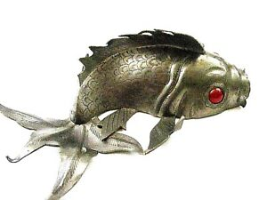 Antique Chinese Pewter Koi Fish Marked China Hand Sodered