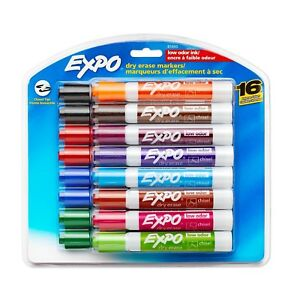 Expo Assorted Colored Chisel Tip Dry Erase Markers 16 count Case Of 6 Packs New