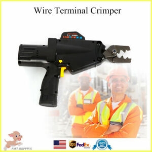 Electric Wire Terminal Crimper Cutter Stripper Plier Battery Powered 8 50mm Usa