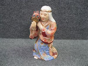Japanese Antique Kutani Goddess Statue Holding A Drum