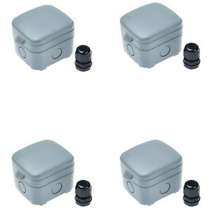 4 Pack 15a Weatherproof Waterproof Outdoor Garden Switch Ip66 Junction Box New
