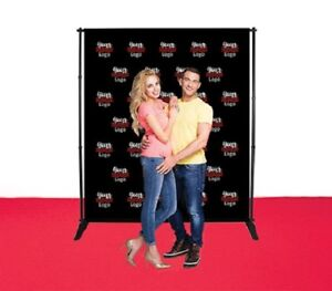 6 x8 Adjustable Step repeat Telescopic Banner Stand Double Side Fabric Backdrop