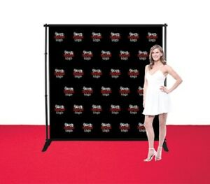 8 x8 Adjustable Step Repeat Banner Stand Telescopic Doubleside Fabric Backdrop
