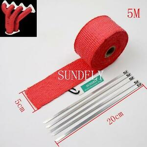Us 5m X 50mm Red Glass Fiber High Temp Exhaust Heat Wrap 5 Stainless Steel Tie