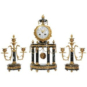 Antique French Ormolu And Green Marble Portico Mantel Clock Set L K