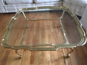 Labarge Brass Glass Coffee Table