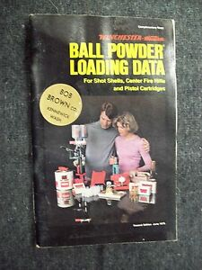 WINCHESTER BALL POWDER LOADING DATA FOR SHOT SHELLS CENTER FIRE PISTOL CARTRIDGE