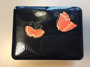 Vintage Japanese Japan Black Lacquerware Box W Red Butterflies W Gold Accents