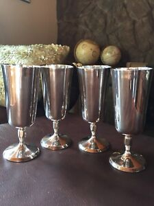 Vintage 4 X Silver Plated Goblets Cups Chalice Made By Plator Of Spain
