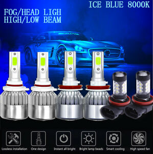 6pcs Ice Blue Cob Led Headlight Hi low Fog Light For Toyota Camry 2007 2014