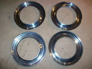 1930 1940s Antique 4 14 Trim Rings 4 Use W 10 Dog Dish Hubcaps Gm Ford Mopar