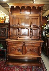 French Antique Walnut Tall Gothic Server Dining Room Furniture Sideboard Buffet