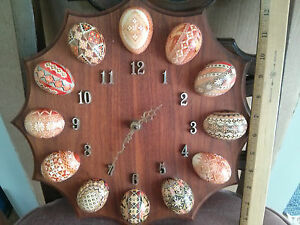 Vintage Ukrainian Decorative Art Easter Egg Clock Real Eggs Hand Made In Canada