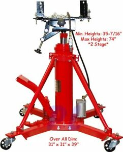 1 Ton Air Hydraulic Transmission Jack Lift Telescopic 2 Stage 2000 Lb Cap