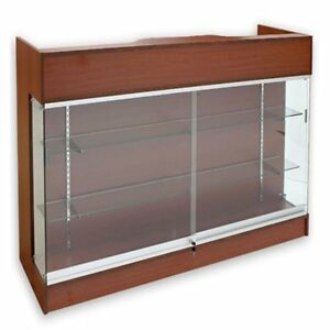 Ledgetop Pos Sales Retail Display 4 Glass Showcase Counter Cherry Knockdown New
