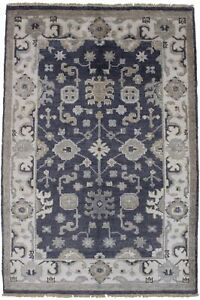 Bamboo Silk Oushak Chobi 4x6 All Over Design Foyer Gray Rug Oriental Carpet