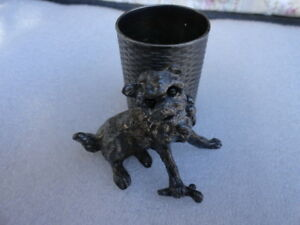 Antique James W Tufts Figural Toothpick Match Holder Dog With Bone