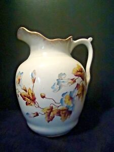 Transferware Wash Bowl Pitcher Only Blue Flowers Huge Cook Hancock Nj 1890