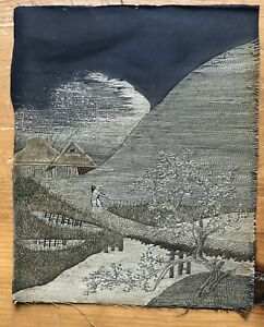 Antique Japanese Embroidery Country Landscape Scene Silk Artwork