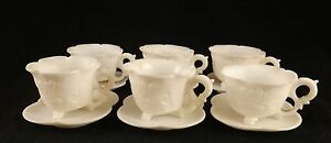 6 Chinese Carved White Stone Marble Ming Style Cups Saucers 2 5 8 X 2 5 8