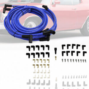 90 Degree Boot Blue Spark Plug Wires Fit Hei Distributor Chevy Sbc Bbc 350 454