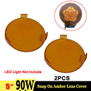5pcs Clear Amber Snap On Lens Cover For 5inch 90w Led Work Light Offroad Round