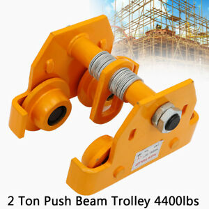 2 Ton Push Beam Track Roller Trolley Winch Crane Lift Weight Capacity 4400 Lbs