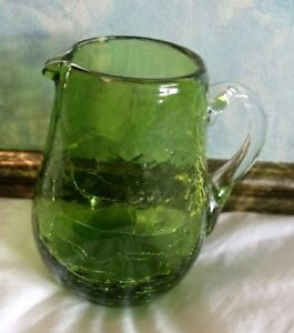 Vintage Crackle Glass Creamer Pitcher So Pretty