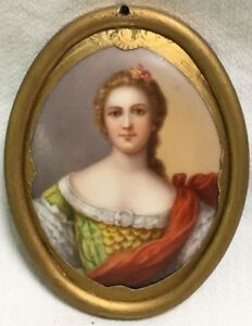 Antique German Hand Painted Portrait On Porcelain Plaque With Gilt Frame